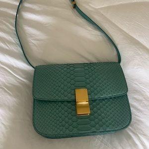 Celine Box medium blue python skin shoulder bag